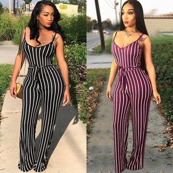 Women clothing Sexy Spaghetti Strap Jumpsuit Sleeveless Plus Size Romper Wide Leg Pants Female Overalls Multi Stripe Summer club