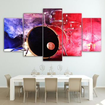 Bass Snare Drums LED Light Show Canvas Print Color Smoke Canas Wall Art