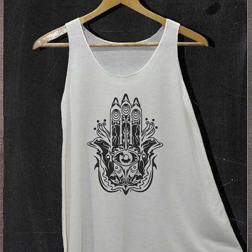 Hamsa Hand T-shirt Hand of Fatima Shirt Tank Top Women Size S and M