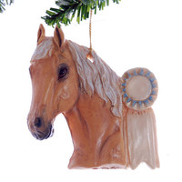 Personalized Horse Ornament - Palomino Blue ribbbon horse christmas ornament, handmade and personalized free.
