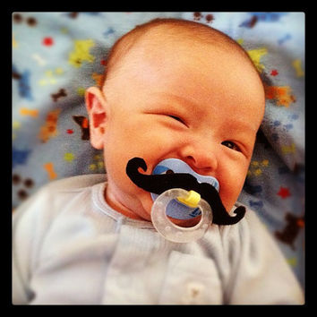 Mustache Pacifier Black Handlebar by BabyHipsters on Etsy