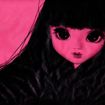 Pullip Art, Anime Girl, ORIGINAL Art, Pencil Drawing, Big Eyes, Illustration, Blythe Doll