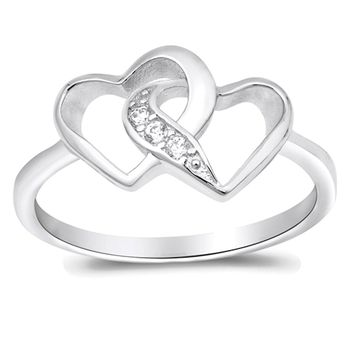 Double Two Hearts Love Linked Promise Ring 925 Sterling Silver