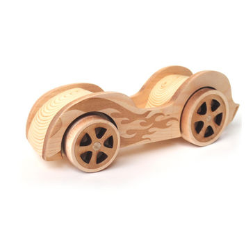 Toy car wood child toy roadster 1950s vintage wooden inspired kids toy