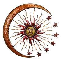 "METAL SUN MOON WALL DECOR 36""""D"