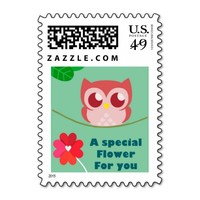 """""""A Special Flower For You"""" Cute Owl Postage Stamp"""