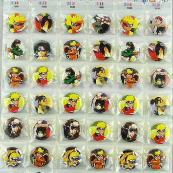 48pcs Naruto action figures Badge Pins set 2016 New Japaness Hello Kitty Naruto Batman badges pins brooch kanto