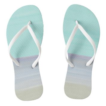 Watercolor Beach Flip Flops
