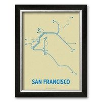 Art.com ''San Francisco (Cement & Blue)'' Framed Art Print by Line Posters (Allegro Silver)