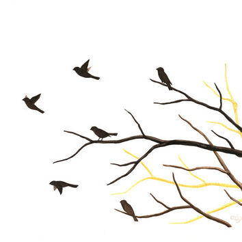 "Original Bird Painting, Watercolor Birds and Branches Silhouette, Flying Birds Art, Tree Branch Art, Black and Brown Nature Art, 8"" X 10"""