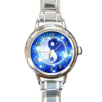 Yin Yang Bllue & White Stars on a Round Silver Charm Watch...Think Small Wrist *