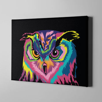 Colorful Owl Canvas Print - Large Wall Art Room Decor Night Bird Rainbow Owls Painting Prints - Abstract Owl Lovers Gift Birds Charm Theme