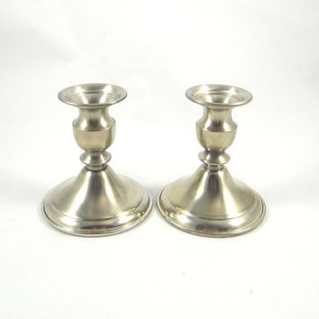 Vintage Bolivian Pewter Candlestick Holders by Leonard Company
