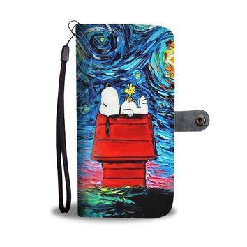 KUYOU Snoopy Watching The Starry Night With Woodstock Wallet Phone Case