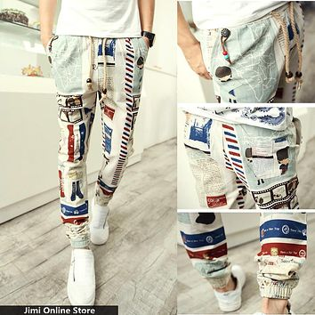 joggers 2016 new cotton linen pants travel Map joggers men long jogger pants casual trousers floral harem pants 28- 36