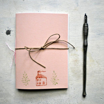 little pink journal sketchbook , hand  Stitched, travel Journal with house and plant  linocut - back to school