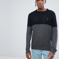 Farah Ludwig Twisted Yarn Cable Knit Sweater in Black at asos.com
