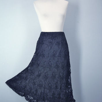 80s Black Lace Skirt High Waist Lined Slip