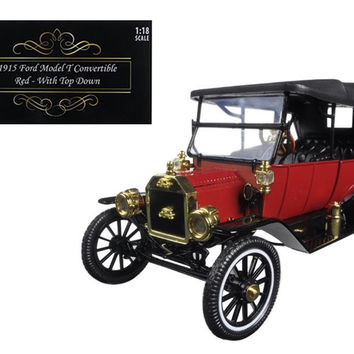 1915 Ford Model T Soft Top Red 1-18 Diecast Model Car by Motorcity Classics
