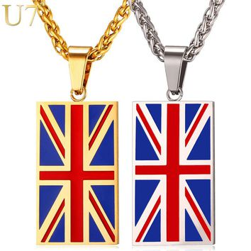 U7 National Flag Of United Kingdom Necklace Gold Color Stainless Steel Pendant & Chain Men/Women Heart UK Jewellery 2017 P1022