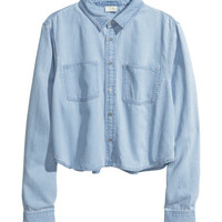 H&M - Cropped Denim Shirt - Denim blue - Ladies