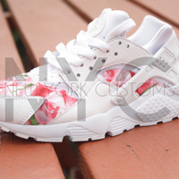 Limited Release Nike Huarache Run White Bushel of Roses