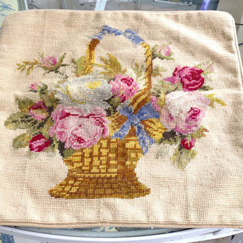 Needlepoint Pillow Cover Vintage Basket of Flowers Shabby Chic Pillow French Country Needlepoint Sham Shabby Home