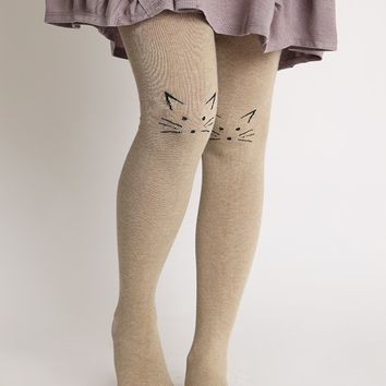 Feeling Feline Tights In Taupe | Ruche