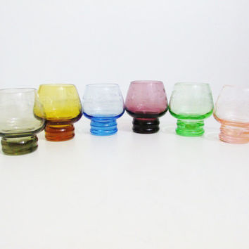 Vintage Glassware: Colorful Etched Cordial Glasses, Set of 6