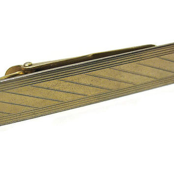 Vintage Tie Clip Clasp Holder Gold Tone Etched Diagonal Lines Mens Retro Hipster Jewelry Formal Accessories