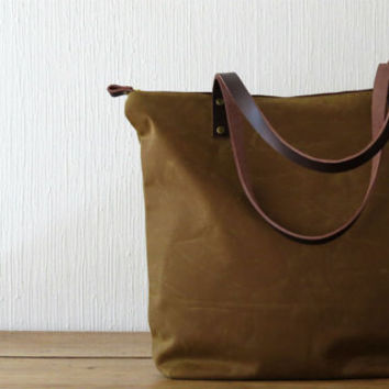 Zip Tote Bag Tan Waxed Canvas Cinnamon Brown Leather handles, Large Tote Carryall Many Pockets, Purse Handbag, Shoulder Bag, Everyday unisex