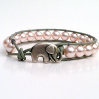 Good Luck Elephant Pink Swarvoski Pearl by JensLuckyElephant