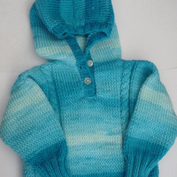 Baby hooded sweater, handknit, shades of blue, cable front, easycare