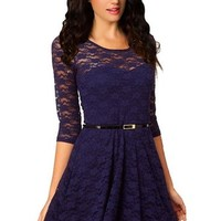 Ninimour- Women's Spoon Neck 3/4 Sleeve Lace Skater Dress Belt (M, Deep Blue)