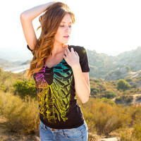 Rainbow Rib Cage (GT0875-103BLK) Women's T-shirt. Womens sexy v-neck, rib cage tee, rainbow, tattoo tees, rainbow t-shirts, skeleton tees.