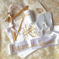 Bridal Shower Gift Set - Full Personalized Gift Box -Bride to Be Gift - Mrs. Tote  - Bridal Sash - Lace Coffee Sleeve - Wedding Dress Hanger