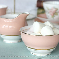 Vintage Colclough cream jug and sugar bowl: stout jug and bowl in salmon pink, perfect for a special tea party