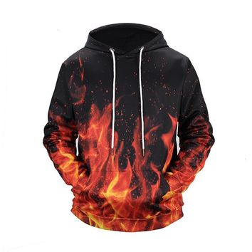 Fire Fiery Flames All Over Print Hoodie Sweatshirt Sweater