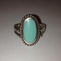 Carolyn Pollack Turquoise Sterling Ring Size 6 Silver 925 Blue Relios Vintage Southwestern Jewelry Christmas Birthday Holiday Cocktail Gift