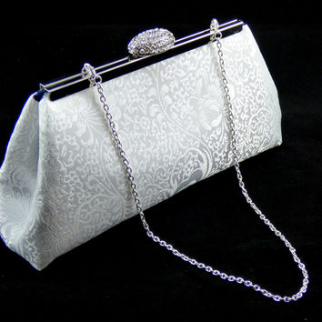 White Paisley and Navy Blue Bridal Clutch