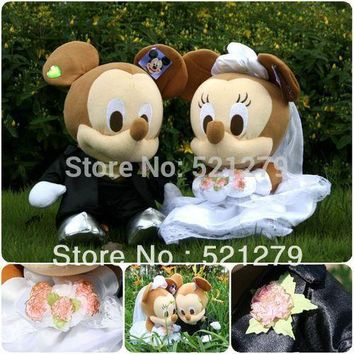 2017 new 1 couple 35cm stuffed Mickey and Minnie Mouse plush soft toys for wedding,Mickey and Minny toys for car decoration