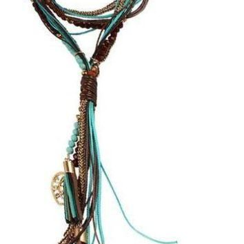 Leather Tassel and Beads Lariat Necklace