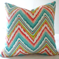 Multli color Zig Zag chevron print pillow cover, fabric both sides, invsible zipper