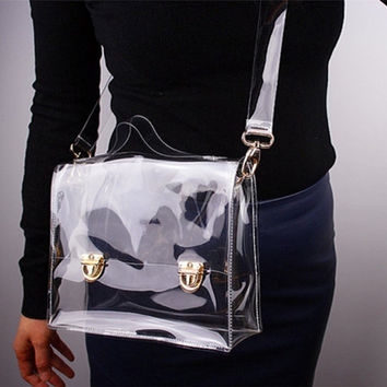 New Fashion PVC Transparent Bag Clear Handbag Tote Shoulder Bag Cross Bag