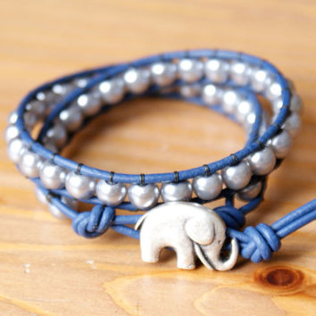Silver Bohemian beaded leather wrap bracelet, double Wrap, lucky jewelry, navy blue, silver baby elephent, boho chic trendy, gift idea