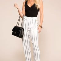 Southern Seas White Striped Pants