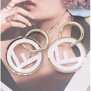 Fendi Fashion New Letter Circle Long Earring Women Accessories White