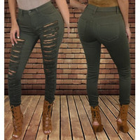 Mid-Waisted Solid Color Skinny Ripped Jeans For Women