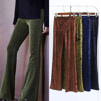 High Waist Diamond Velvet Long Bell Pants