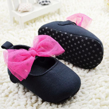 0-18 Months Infant Toddler Baby Shoes Kids Girls Soft Sole Bowknot Crib Shoes Newborn NW